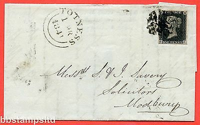 "SG. 2 d. A1 (2) i. AS56. "" CG "". 1d black. Plate 9. A good used example on cover"