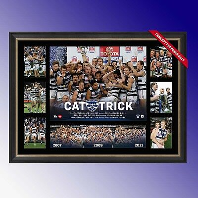 Afl Geelong Cats Cat Trick Premiership Glory Print Deluxe Super Frame 07 09 11