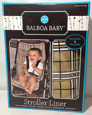 Balboa Baby Stroller Liner Brown and White plaid