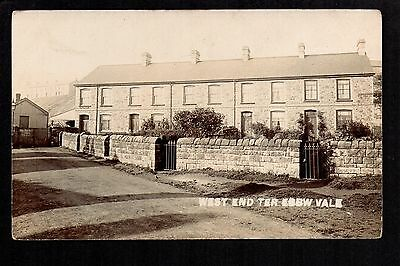 Ebbw Vale - West End Terrace - real photographic postcard