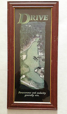 Very Nice Vintage Framed Poster Print Golf Fairway  Motivational