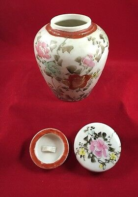 Antique Two Lidded Chinese Jar Hand Painted Floral Decorated 19Th Ct