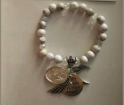 Code 499 Guardian Angel TRUST White Howlite Gemstone Clear AB Crystal Infused br
