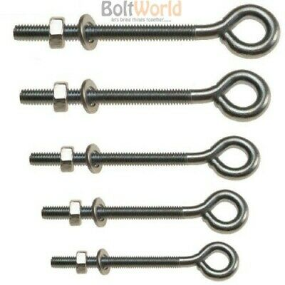M6, M8, M10 Folded Straining Eye Bolts Plus Hex Nuts & Washers Zinc Plated Bolt