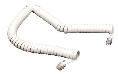 10pcs 7 Foot Modular Coiled Telephone Handset Phone Cord Plugs on ends White 7ft