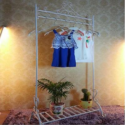 Iron Clothes Hanging Rail Rack Dress Display Stand Hanger Fashion Shop White