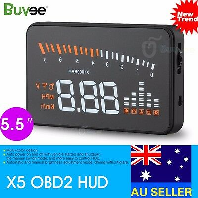 Car HUD Projector Head Up Mileage Display Speed Warning Fuel OBD 2 Speedometer
