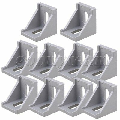 10 x Furniture Fastener 40x40mm Corner Right Angle Bracket Aluminum Oval Hole