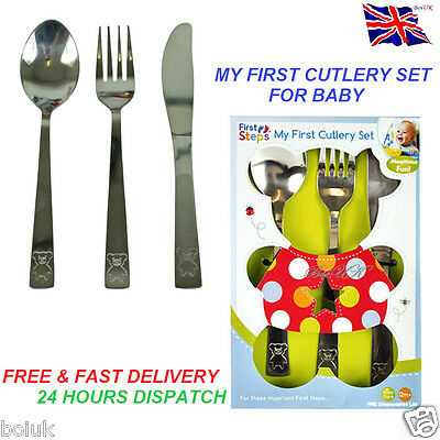 First Step 3 Pcs Cutlery Set Knife Fork Spoon S/steel Kids Baby Toddler New Born