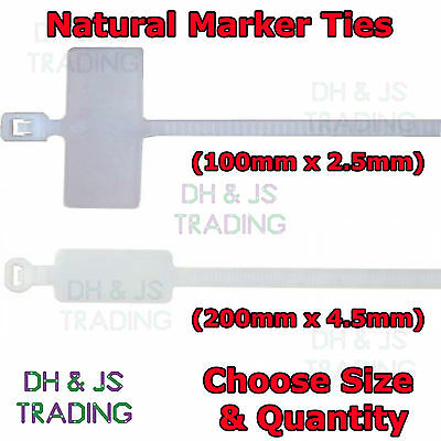 Natural Marker Ties Cable Tie Marker I.D Tie Tag Write On Label 100mm 200mm