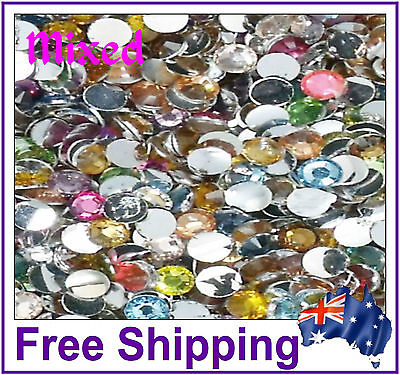 Rhinestones Resin FB 4mm ~ Mixed Colours~ 500 Pack By Gypsy Bling ~ Free Post