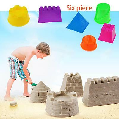 6Pcs Magic Sand Mold Children Funny Indoor Play Toy Mould Pyramid Castle DIY Set