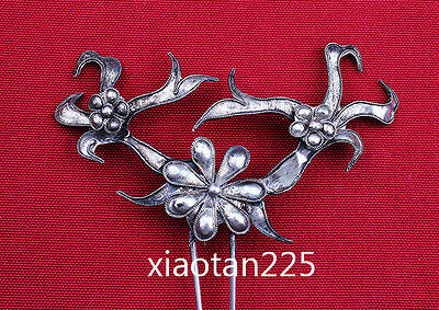 China's Ancient costume Handmade Miao Silver filigree Hairpin Headdress W529