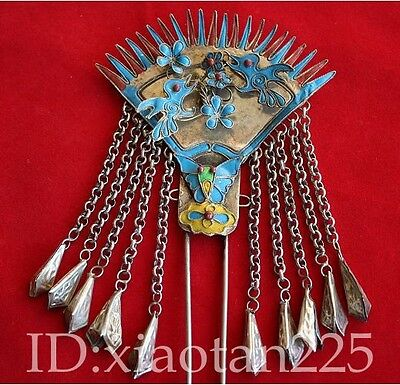 100%Handmade Miao Silver Woman Hairpin Headdress Christmas gift w088