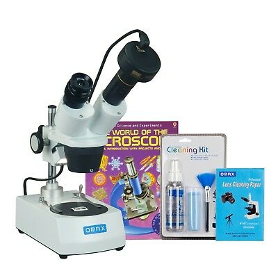 OMAX 20X-60X 1.3MP Digital Student Binocular Stereo Microscope w Cleaning Pack