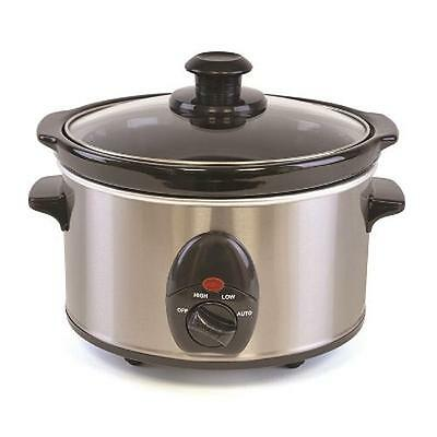 Lloytron E3015 Kitchen Perfected 1.5 Ltr Mini Oval Slow Cooker Brushed Steel New