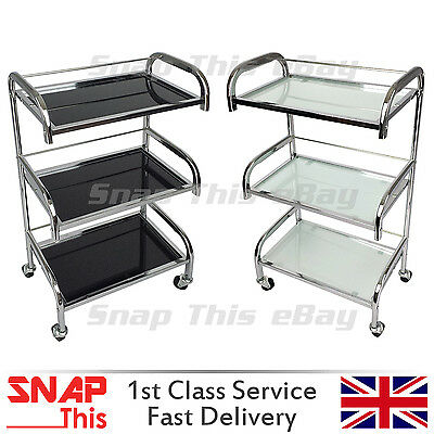 Salon Hairdresser Drawers Storage Trolley Colouring Hair Spa Silver Metal Glass