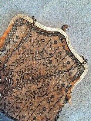 Antique Purse Frame Crafting Silvertone Ornate Chain Strap/Handle Closes Tight