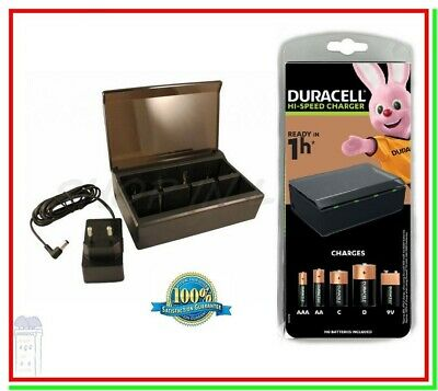 """CARICABATTERIE RAPIDO 1 ORA DURACELL CEF22 x AA AAA C D 9v """"CORRIERE"""""""