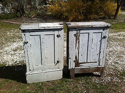 Vintage pair of  architecturlal salvage room devider cabinets chippy white paint