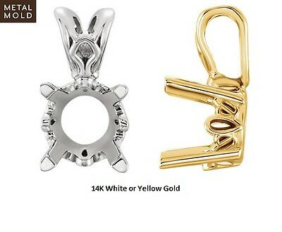 14K Solid White Or Yellow Gold Round Scroll Pendant Setting Mounting
