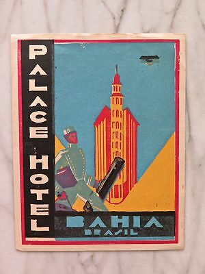 PALACE HOTEL, BAHIA, BRASIL...RARE MINT ORIGINAL LUGGAGE LABEL...CIRCA 1930s