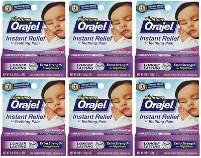 6 Pack - Orajel Nighttime Formula, Teething Pain Relief .18 oz Each