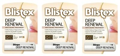 3 Pack Blistex Deep Renewal Lip Protectant, SPF 15 0.15 oz Each