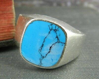 Taxco Mexico Sterling Silver & Turquoise Signet Ring - Size 12.5