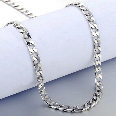 Men's Women's White Gold Filled 18K Curb Cuban Link Chain Necklace lobster N10