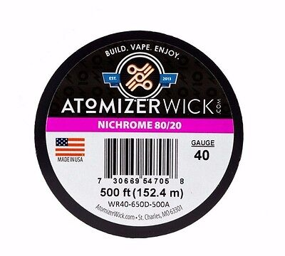 Nichrome 80 Series 40 Gauge wire 0.0799mm 67.63 Ohms/ft Resistance, 500ft spool