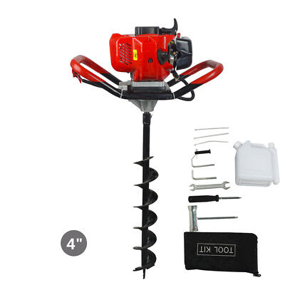 """New 2.2 HP Gas Powered Post Hole Digger W/ 4"""" Auger Drill Bit 49CC Power Engine"""