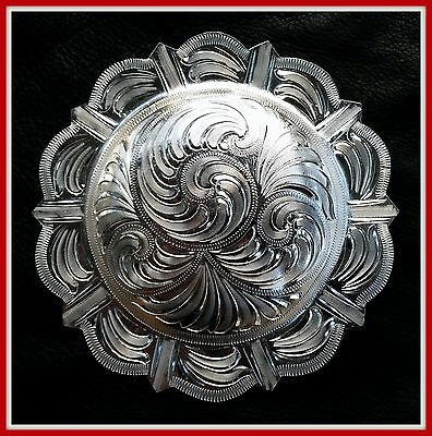 """5"""" Silver Hand Engraved Western Pico Concho"""