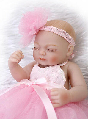 Cute Mini Doll Lifelike Full Body Silicone Reborn Baby Girl Dolls Soft Newborn