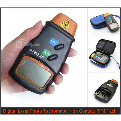 Digital LCD Laser Photo Tachometer RPM Tachometer Measuring Non-Contact Tool UK