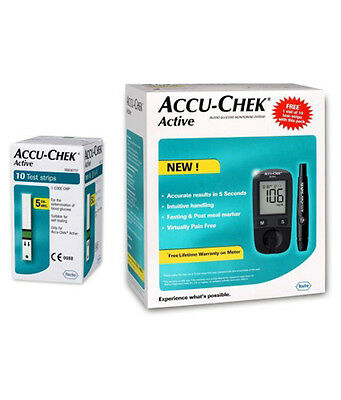 Accu-Chek Active Blood Glucose Meter Gluco Monitoring +10 Strips &10 Lancets New
