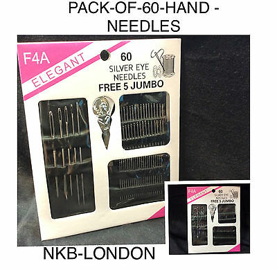 Hand Sewing Needles Pack Of 60 For Sewing & Embroider Uk Seller Free P&p