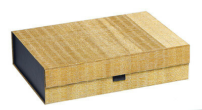 Flat Pack Shallow Gift Box- Gold Textured Print- Luxury Packaging - GBA985