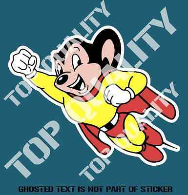 MIGHTY MOUSE DECAL STICKER FUNNY VINTAGE SUPER HERO catoon character