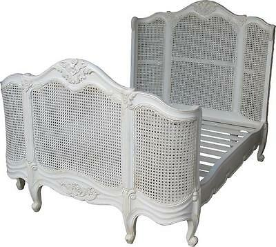 French Curved Rattan Bed with high footboard 5' king size Antique White B003P