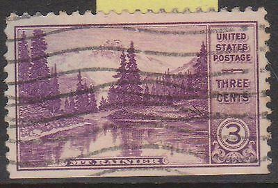 (OL-75) 1934 USA 3c violet mirror lake Mt Rainier (A)