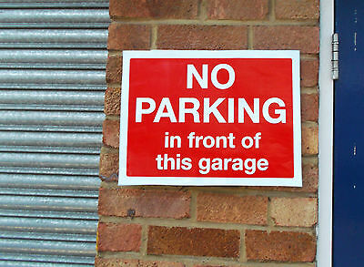 No Parking in Front of this Garage Very Large Sticker Sign (300x400mm) 24-10-1r