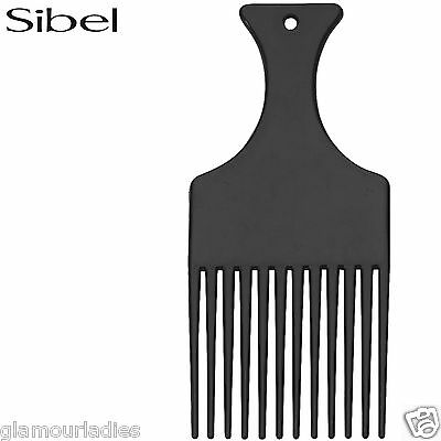 Sibel Black Plastic Long Teeth Small Afro Hair Comb Detangling With Handle