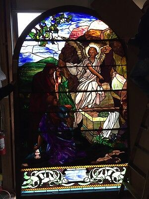 Antique Amazing Angel Stainglass Window