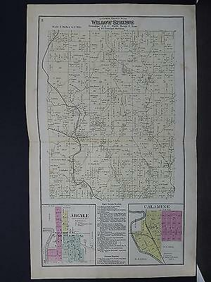 Wisconsin Lafayette County Map 1874 Townships Willow Springs, Double Page Map!