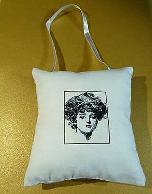 Handmade Shabby Chic Padded Pincushion - Art Nouveau Gibson Girl Design