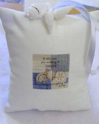 Handmade Shabby Chic Padded Pincushion with Natual Seashells