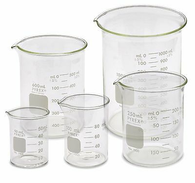 Corning Pyrex 1000-PACK Low Form Beaker Set - 5 Sizes, 50, 100, 250, 600, 1000ml