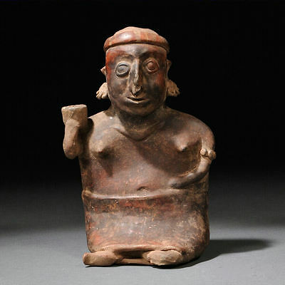 Ancient Pre Columbian Nayarit Seated Female Figure, western Mexico, c. 100 B.C.