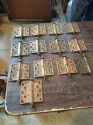 H112 13 Antique Decorative Brass Hinges Dated1869